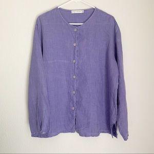 100% Linen Cut Loose Button Down Shirt